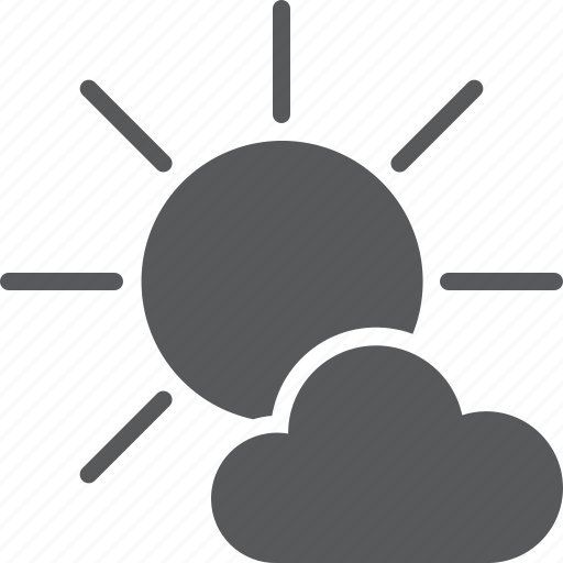 cloud, mostly, sun, sunny, weather icon