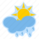 cloud, forecast, meteorology, rain, sun, weather icon