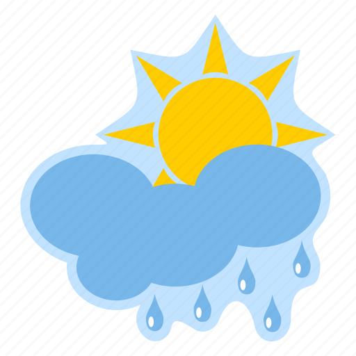 cloud, forecast, meteorology, rain, sun, weather icon