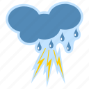 cloudy, lightning, meteorology, rain, thunderstorm, weather icon