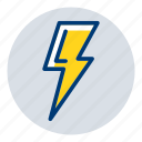 lightning, power, thunder, weather, weather forecast icon