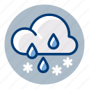 rain, sleek, snow, weather, weather forecast icon