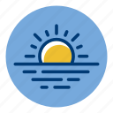 evening, ocean, sea, sun, sunset, weather, weather forecast icon
