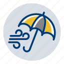 umbrella, weather, weather forecast, wind, windy icon