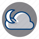 cloudy, moon, night, weather, weather forecast icon