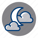 clouds, cloudy, moon, night, weather, weather forecast icon