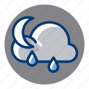 night, rain, rainy, weather, weather forecast icon