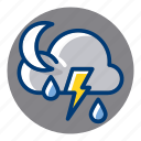 lightning, night, rain, rainy, thunder, weather, weather forecast icon