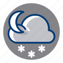 moon, night, snow, snowy, weather, weather forecast icon