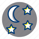 moon, night, starry night, stars, weather, weather forecast icon