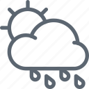 cloud, forecast, hard, rain, rainy, sun, weather icon