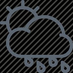 cloud, forecast, hard, rain, rainy, sun, weather icon