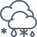 cloud, forecast, rain, snow, snowflake, weather, winter icon