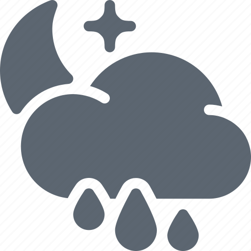 cloud, forecast, moon, night, rain, rainy, weather icon