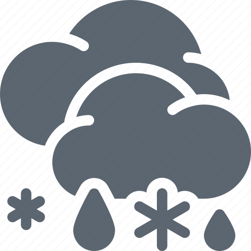 clouds, rain, snow, snowflake, weather, winter icon