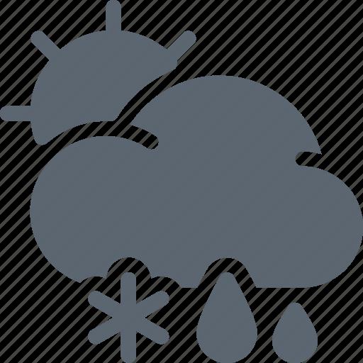 forecast, rain, snow, sun, weather, winter icon