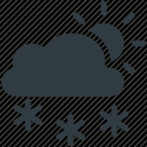 cloud, forecast, snowfall, sun, weather icon