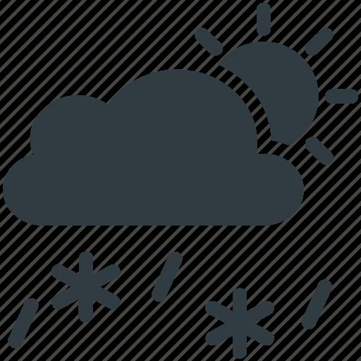 cloud, rain, snowfall, sun, weather icon