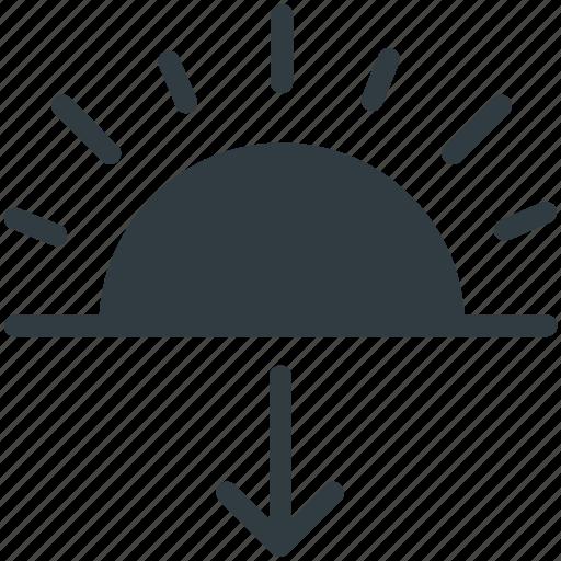 down arrow, evening, sun, sundown, sunset icon