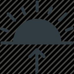 day light, morning, sun, sunrise, up arrow icon