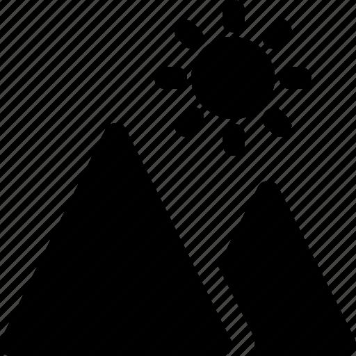 hills, hilly area, mountain range, mountains, valley icon