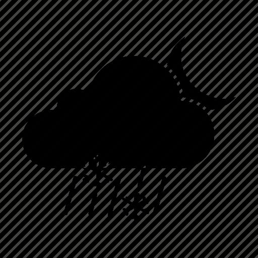 cloud, moon, night, rain, sleet, snow, snowfall icon