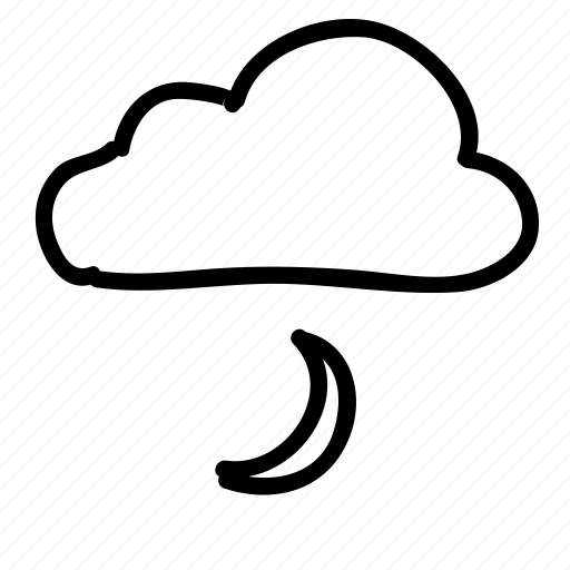 cloud, clouds, forecast, moon, night, sky, weather icon