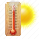 forecast, high, hot, summer, temperature, warm, weather icon