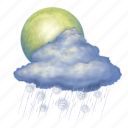 snow, rain, moon, weather, forecast, cloud, cloudy