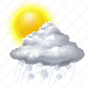 cloud, forecast, rain, snow, sun, sunny, weather icon
