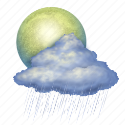 Rain, moon, weather, forecast, clouds, cloud, cloudy icon