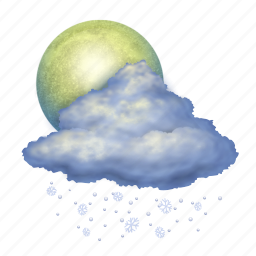 cloud, clouds, cloudy, forecast, moon, snow, weather icon