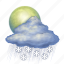 cloud, cloudy, forecast, moon, rain, snow, weather icon