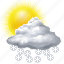 cloud, clouds, cloudy, forecast, snow, sun, sunny, weather icon