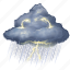 cloud, clouds, cloudy, forecast, thunderstorm, weather icon