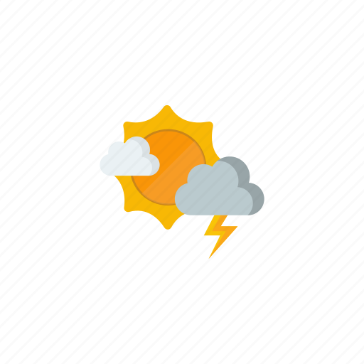 partly cloudy, sunny, thunderstorm icon
