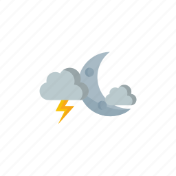 cloudy, moon, night, thunderstorm icon