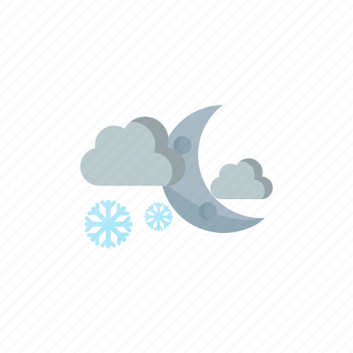 cloudy, moon, night, snowy icon