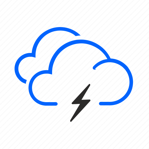 cloudy, occasional, storm, weather icon