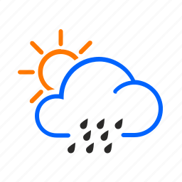 day, occasional, rain, weather icon