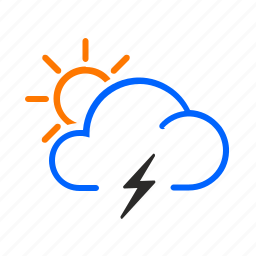 day, occasional, storm, weather icon