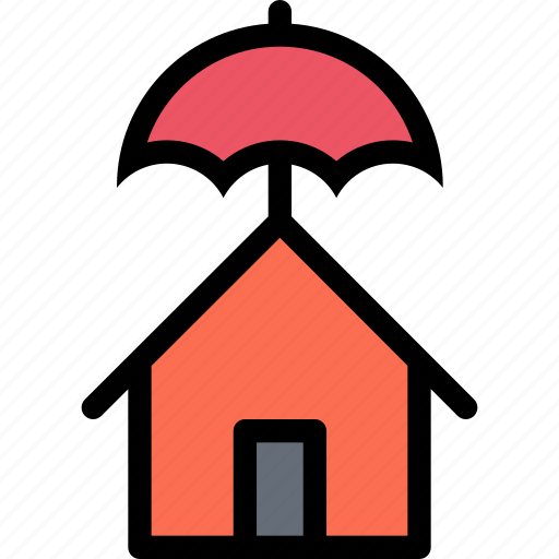 house, insurance, protection, umbrella icon