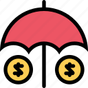 insurance, investments, money, protection, umbrella icon