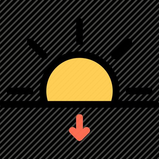 nature, sun, sunset, weather icon