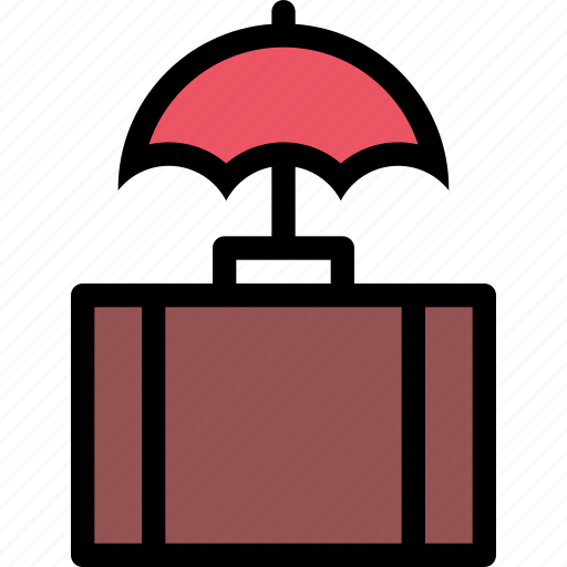 insurance, protection, suitcase, travel, umbrella icon