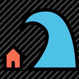 house, insurance, nature, tsunami, water, weather icon