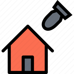 bomb, home, house, insurance, war icon