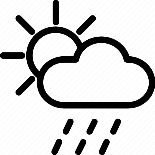 cloud, rain, raining, sun icon