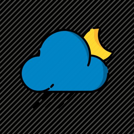 cloud, moon, night, rain, snow, sun, weather icon