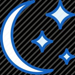 moon, night, starts, weather icon